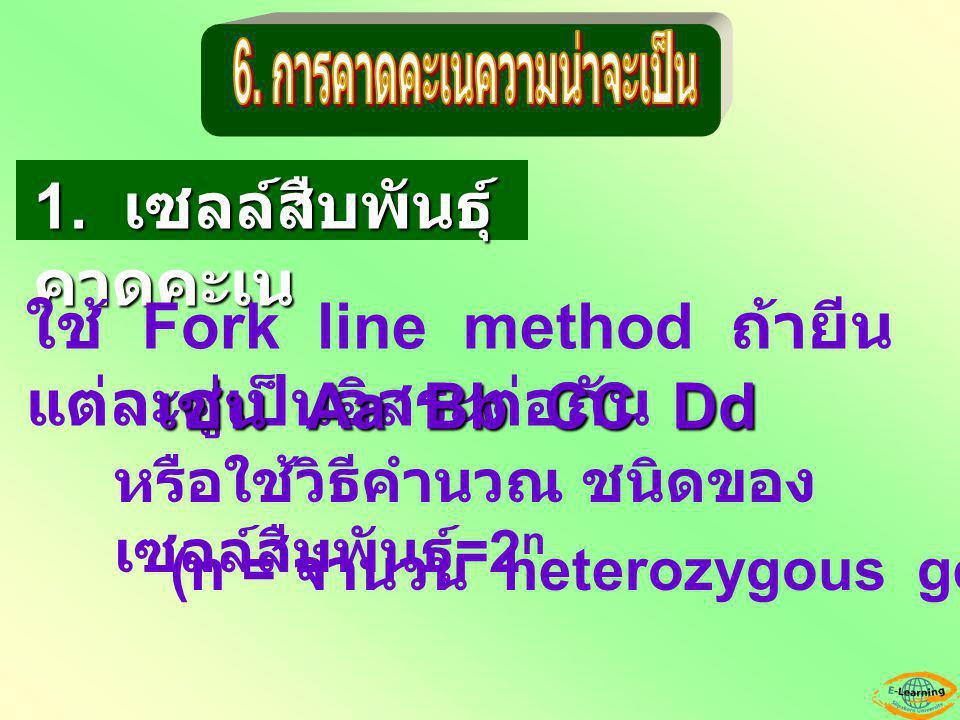1. เซลล์สืบพันธุ์ คาดคะเน ใช้ Fork line method ถ้ายีน แต่ละคู่เป็นอิสระต่อกัน หรือใช้วิธีคำนวณ ชนิดของ เซลล์สืบพันธุ์ =2 n เช่น Aa Bb CC Dd (n = จำนวน
