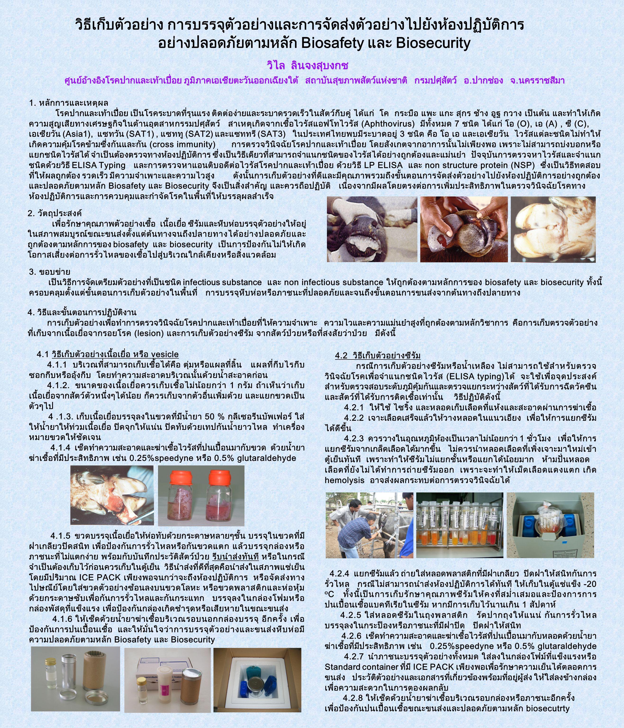 วิธีเก็บตัวอย่าง การบรรจุตัวอย่างและการจัดส่งตัวอย่างไปยังห้องปฏิบัติการ อย่างปลอดภัยตามหลัก Biosafety และ Biosecurity วิไล ลินจงสุบงกช วิไล ลินจงสุบง