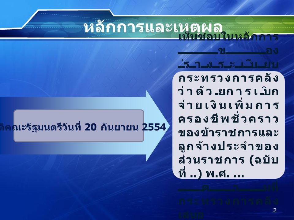 หลักการและเหตุผล มติคณะรัฐมนตรีวันที่ 20 กันยายน 2554 เห็นชอบในหลักการ ของ ร่างระเบียบ กระทรวงการคลัง ว่าด้วยการเบิก จ่ายเงินเพิ่มการ ครองชีพชั่วคราว