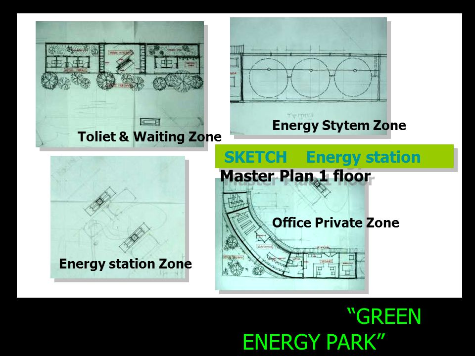 GREEN ENERGY PARK Energy station Project Energy Stytem Zone Toliet & Waiting Zone Office Private Zone Energy station Zone SKETCH Energy station Master Plan 1 floor