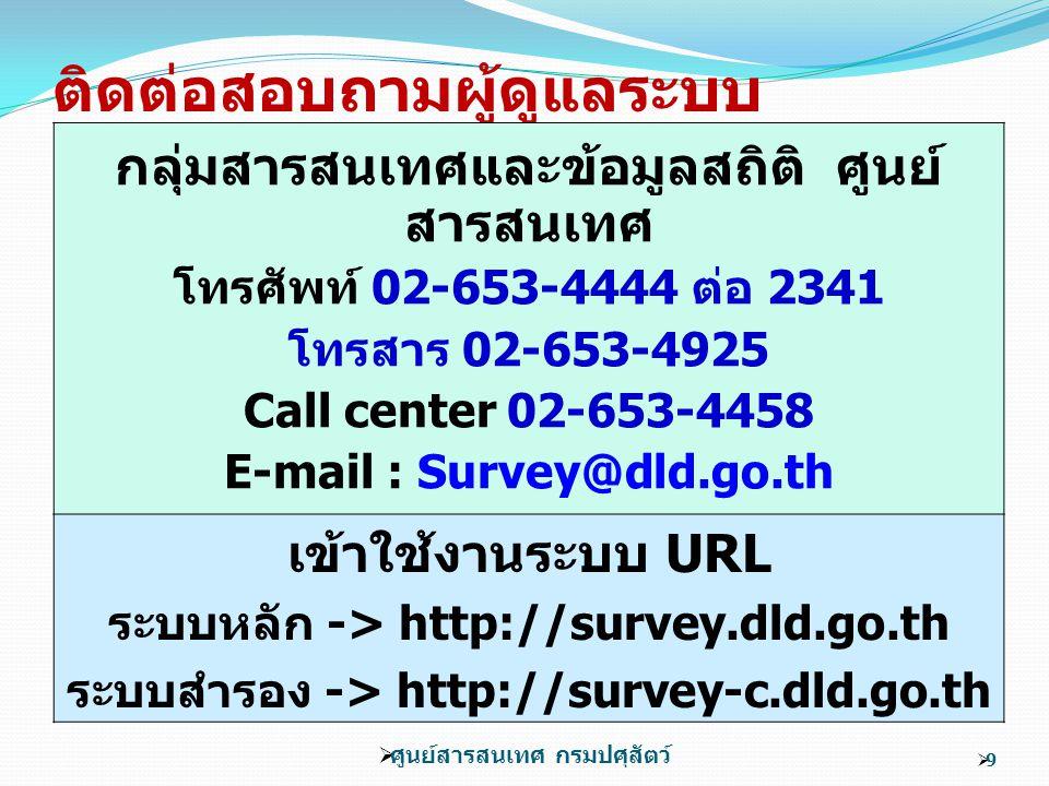 ติดต่อสอบถามผู้ดูแลระบบ กลุ่มสารสนเทศและข้อมูลสถิติ ศูนย์ สารสนเทศ โทรศัพท์ 02-653-4444 ต่อ 2341 โทรสาร 02-653-4925 Call center 02-653-4458 E-mail : Survey@dld.go.th เข้าใช้งานระบบ URL ระบบหลัก -> http://survey.dld.go.th ระบบสำรอง -> http://survey-c.dld.go.th  ศูนย์สารสนเทศ กรมปศุสัตว์ 99