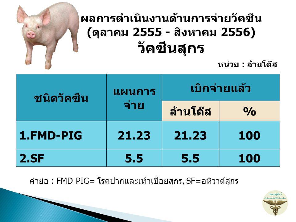 ชนิดวัคซีน แผนการ จ่าย เบิกจ่ายแล้ว ล้านโด๊ส% 1.FMD-PIG21.23 100 2.SF5.5 100 หน่วย : ล้านโด๊ส คำย่อ : FMD-PIG= โรคปากและเท้าเปื่อยสุกร, SF=อหิวาต์สุกร