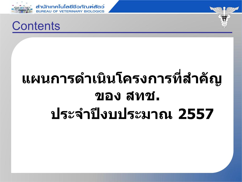 Contents แผนการดำเนินโครงการที่สำคัญ ของ สทช. ประจำปีงบประมาณ 2557