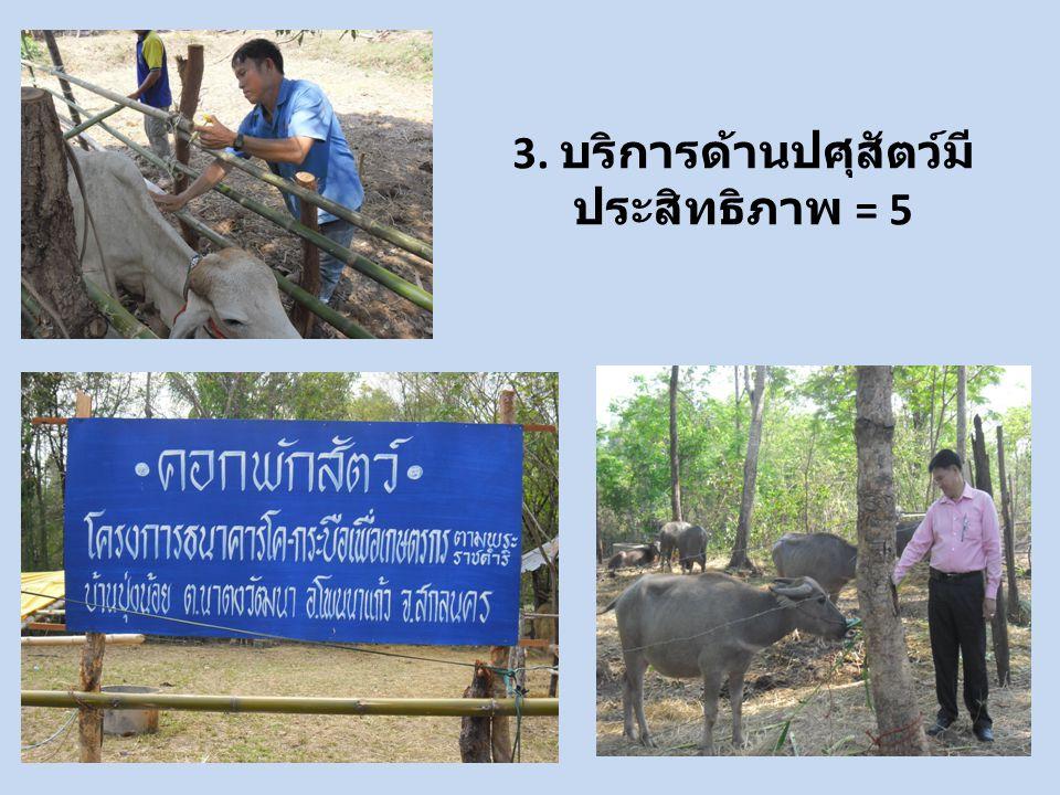 3. บริการด้านปศุสัตว์มี ประสิทธิภาพ = 5