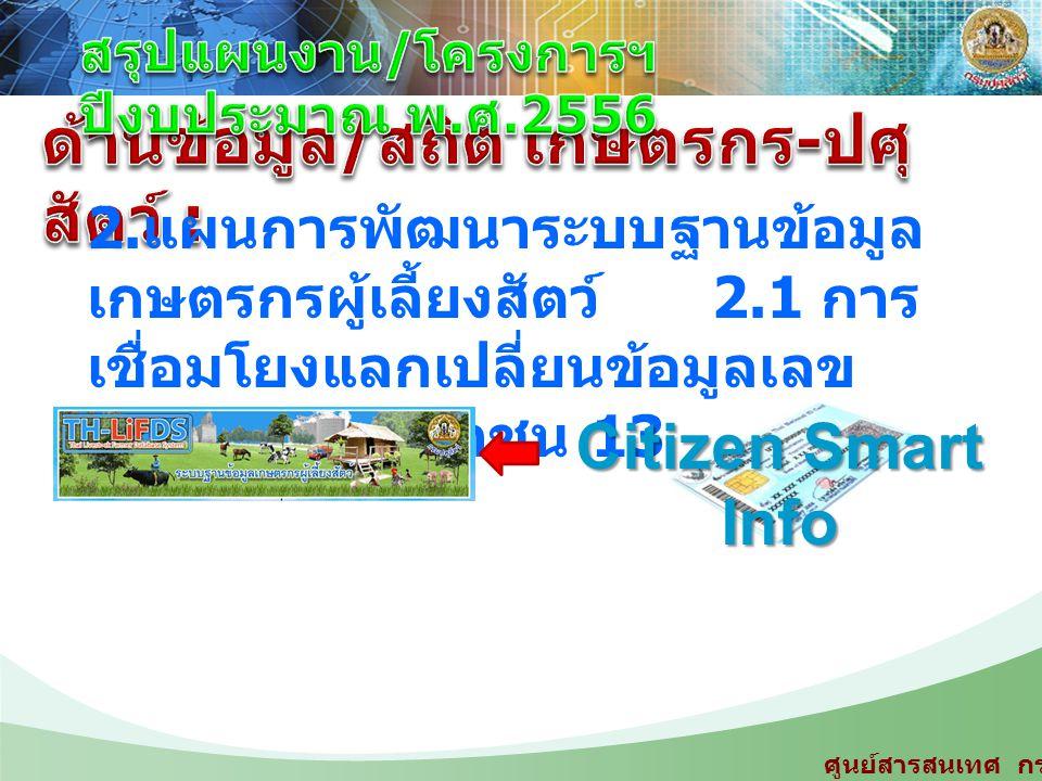2. แผนการพัฒนาระบบฐานข้อมูล เกษตรกรผู้เลี้ยงสัตว์ 2.1 การ เชื่อมโยงแลกเปลี่ยนข้อมูลเลข ประจำตัวประชาชน 13 หลัก Citizen Smart Info ศูนย์สารสนเทศ กรมปศุ