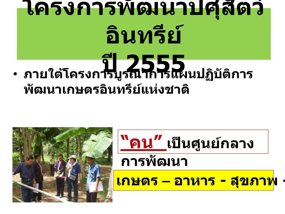 """โครงการพัฒนาปศุสัตว์ อินทรีย์ ปี 2555 """" คน """" เป็นศูนย์กลาง การพัฒนา ภายใต้โครงการบูรณาการแผนปฏิบัติการ พัฒนาเกษตรอินทรีย์แห่งชาติ เกษตร – อาหาร - สุขภ"""