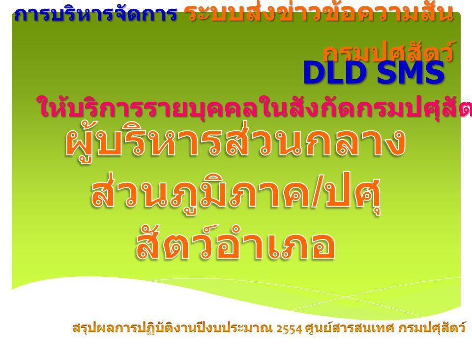 การบริหารจัดการ ระบบส่งข่าวข้อความสั้น กรมปศุสัตว์ DLD SMS ให้บริการรายบุคคลในสังกัดกรมปศุสัตว์