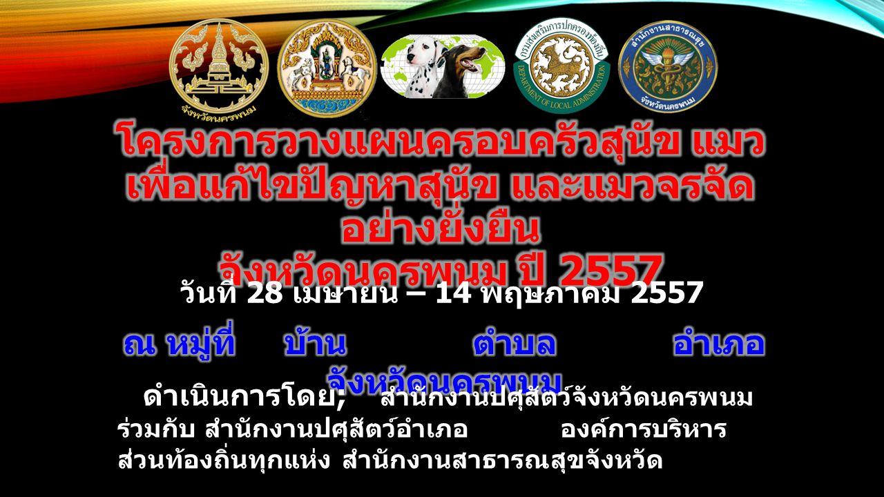 วันที่ 28 เมษายน – 14 พฤษภาคม 2557 ดำเนินการโดย ; สำนักงานปศุสัตว์จังหวัดนครพนม ร่วมกับ สำนักงานปศุสัตว์อำเภอ องค์การบริหาร ส่วนท้องถิ่นทุกแห่ง สำนักง