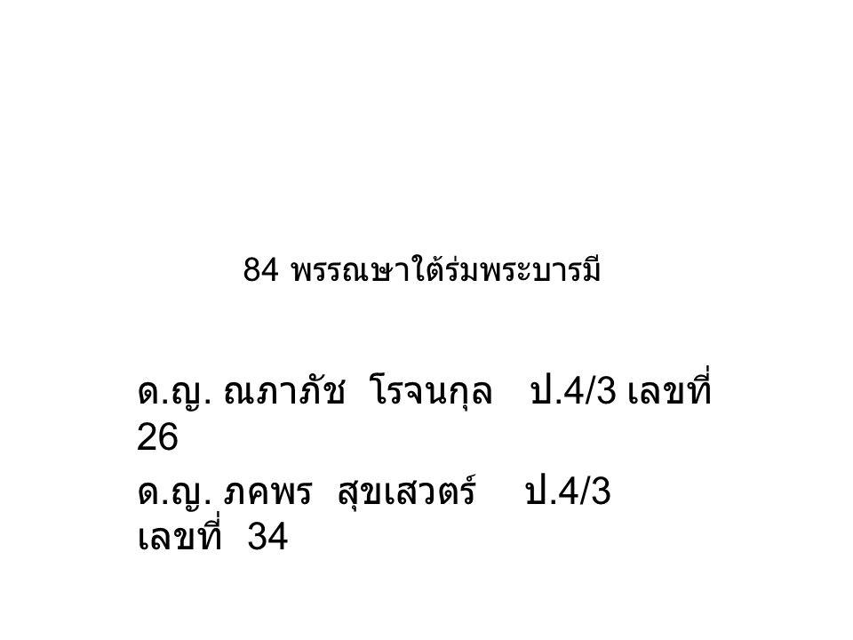84 พรรณษาใต้ร่มพระบารมี ด. ญ. ณภาภัช โรจนกุล ป.4/3 เลขที่ 26 ด. ญ. ภคพร สุขเสวตร์ ป.4/3 เลขที่ 34
