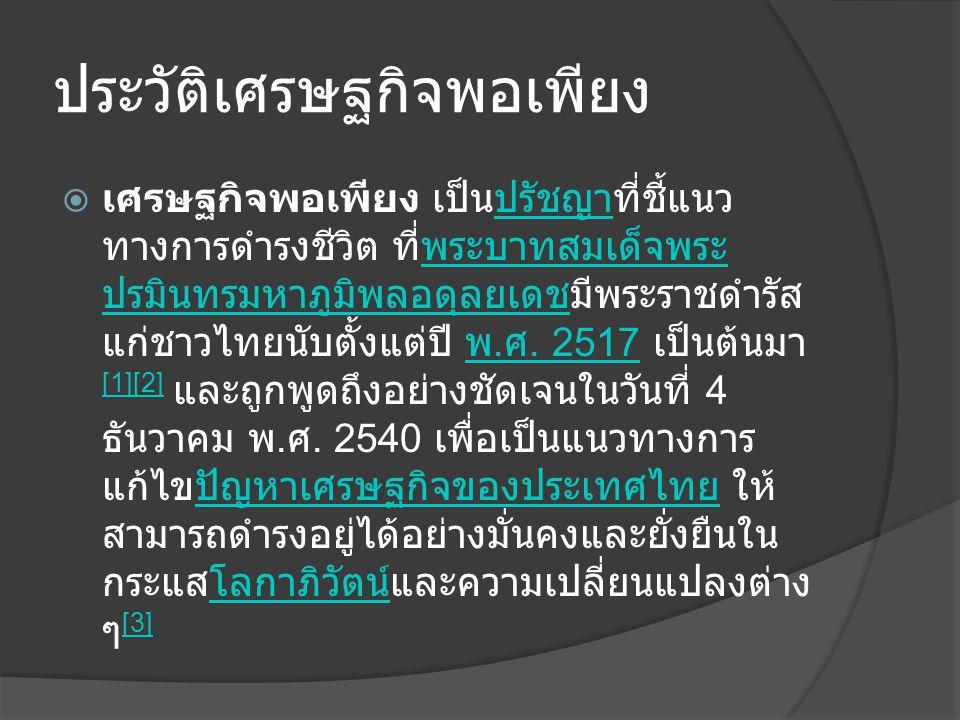 ประวัติเศรษฐกิจพอเพียง  เศรษฐกิจพอเพียง เป็นปรัชญาที่ชี้แนว ทางการดำรงชีวิต ที่พระบาทสมเด็จพระ ปรมินทรมหาภูมิพลอดุลยเดชมีพระราชดำรัส แก่ชาวไทยนับตั้ง