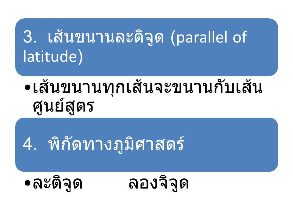 3. เส้นขนานละติจูด (parallel of latitude) เส้นขนานทุกเส้นจะขนานกับเส้น ศูนย์สูตร 4. พิกัดทางภูมิศาสตร์ ละติจูด ลองจิจูด