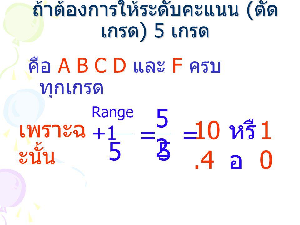 ถ้าต้องการให้ระดับคะแนน ( ตัด เกรด ) 5 เกรด คือ A B C D และ F ครบ ทุกเกรด = 5 = เพราะฉ ะนั้น Range +1 5252 5 10.4 หรื อ 1010