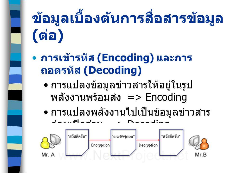 ข้อมูลเบื้องต้นการสื่อสารข้อมูล ( ต่อ ) การเข้ารหัส (Encoding) และการ ถอดรหัส (Decoding) การแปลงข้อมูลข่าวสารให้อยู่ในรูป พลังงานพร้อมส่ง => Encoding