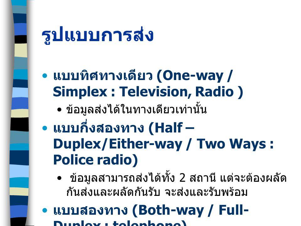 รูปแบบการส่ง แบบทิศทางเดียว (One-way / Simplex : Television, Radio ) ข้อมูลส่งได้ในทางเดียวเท่านั้น แบบกึ่งสองทาง (Half – Duplex/Either-way / Two Ways