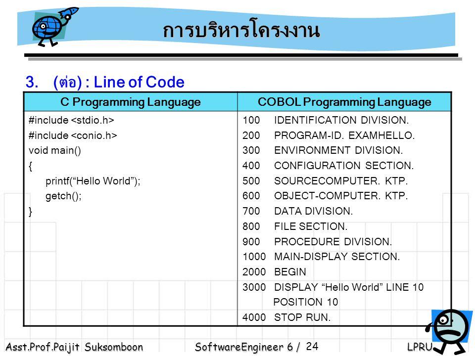 Asst.Prof.Paijit Suksomboon SoftwareEngineer 6 / LPRU 24 3.(ต่อ) : Line of Code การบริหารโครงงาน C Programming LanguageCOBOL Programming Language #include void main() { printf( Hello World ); getch(); } 100 IDENTIFICATION DIVISION.