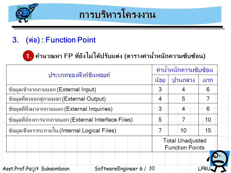 Asst.Prof.Paijit Suksomboon SoftwareEngineer 6 / LPRU 30 3.(ต่อ) : Function Point 1.