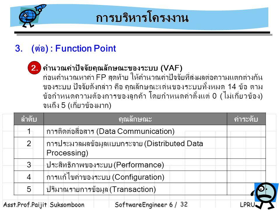 Asst.Prof.Paijit Suksomboon SoftwareEngineer 6 / LPRU 32 3.(ต่อ) : Function Point 2.