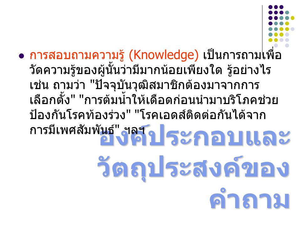 องค์ประกอบและ วัตถุประสงค์ของ คำถาม การสอบถามความรู้ (Knowledge) เป็นการถามเพื่อ วัดความรู้ของผู้นั้นว่ามีมากน้อยเพียงใด รู้อย่างไร เช่น ถามว่า