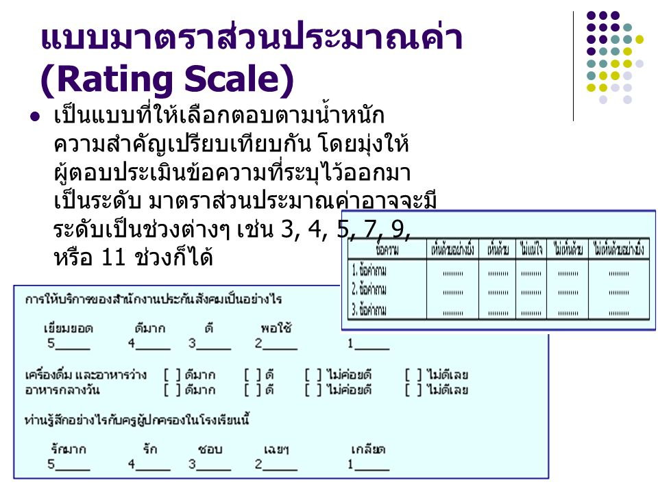 แบบมาตราส่วนประมาณค่า (Rating Scale) เป็นแบบที่ให้เลือกตอบตามน้ำหนัก ความสำคัญเปรียบเทียบกัน โดยมุ่งให้ ผู้ตอบประเมินข้อความที่ระบุไว้ออกมา เป็นระดับ
