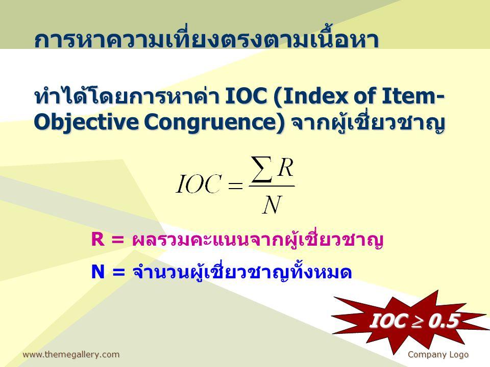 www.themegallery.comCompany Logo การหาความเที่ยงตรงตามเนื้อหา ทำได้โดยการหาค่า IOC (Index of Item- Objective Congruence) จากผู้เชี่ยวชาญ R = ผลรวมคะแน