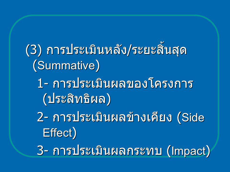 (3) การประเมินหลัง / ระยะสิ้นสุด ( Summative ) 1- การประเมินผลของโครงการ ( ประสิทธิผล ) 2- การประเมินผลข้างเคียง ( Side Effect ) 3- การประเมินผลกระทบ