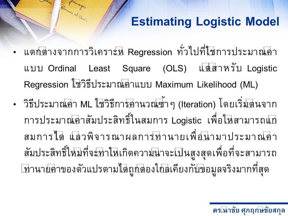 ดร. นำชัย ศุภฤกษ์ชัยสกุล Estimating Logistic Model แตกต่างจากการวิเคราะห์ Regression ทั่วไปที่ใช้การประมาณค่า แบบ Ordinal Least Square (OLS) แต่สำหรับ