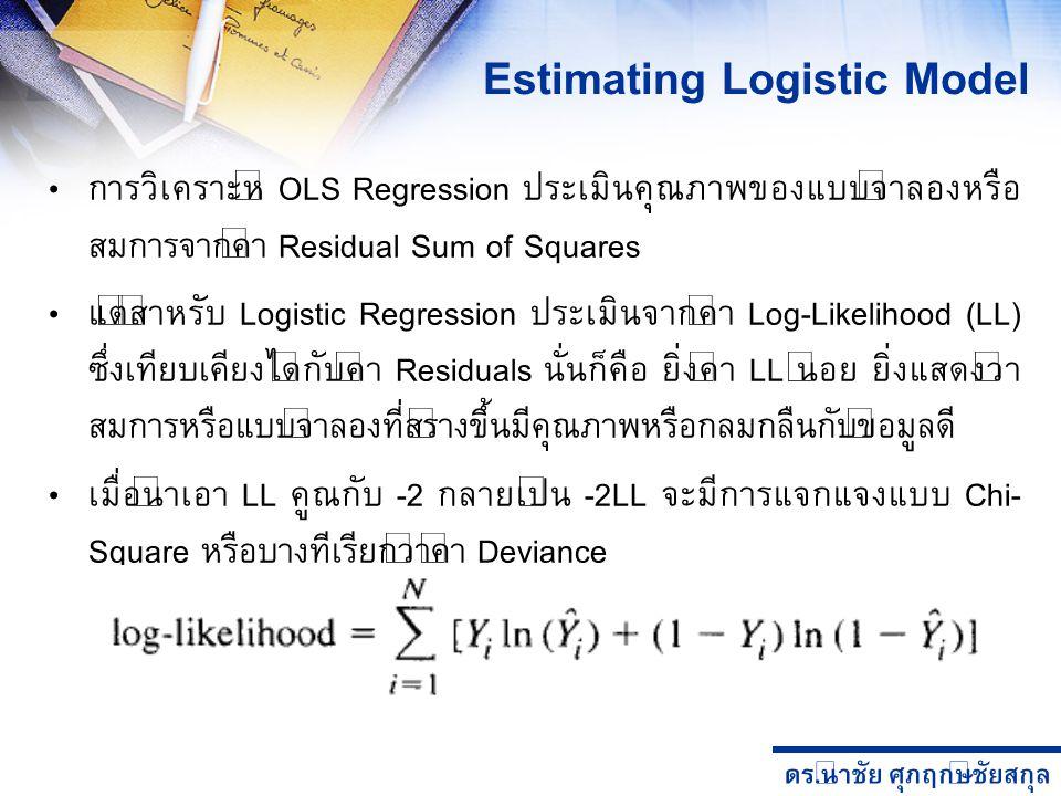 ดร. นำชัย ศุภฤกษ์ชัยสกุล การวิเคราะห์ OLS Regression ประเมินคุณภาพของแบบจำลองหรือ สมการจากค่า Residual Sum of Squares แต่สำหรับ Logistic Regression ปร
