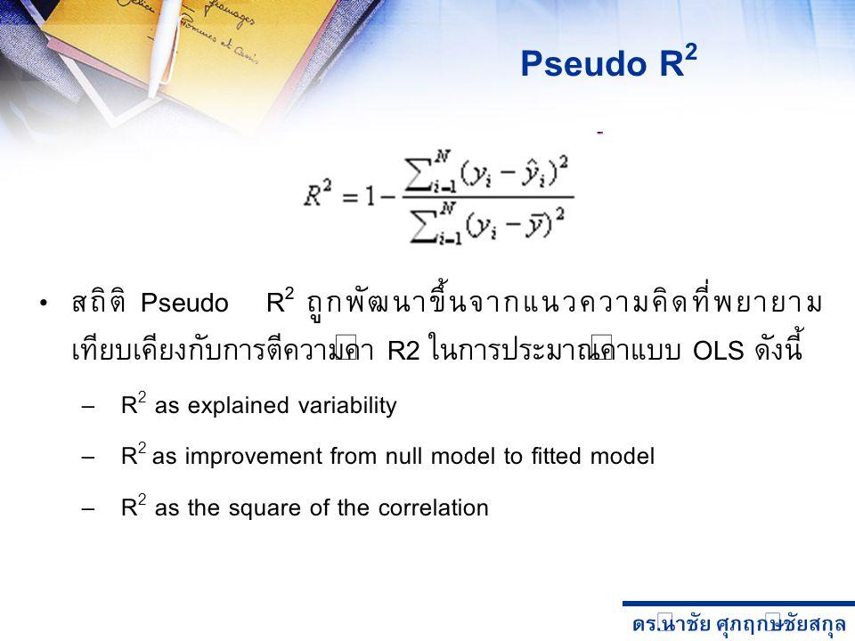 ดร. นำชัย ศุภฤกษ์ชัยสกุล สถิติ Pseudo R 2 ถูกพัฒนาขึ้นจากแนวความคิดที่พยายาม เทียบเคียงกับการตีความค่า R2 ในการประมาณค่าแบบ OLS ดังนี้ – R 2 as explai