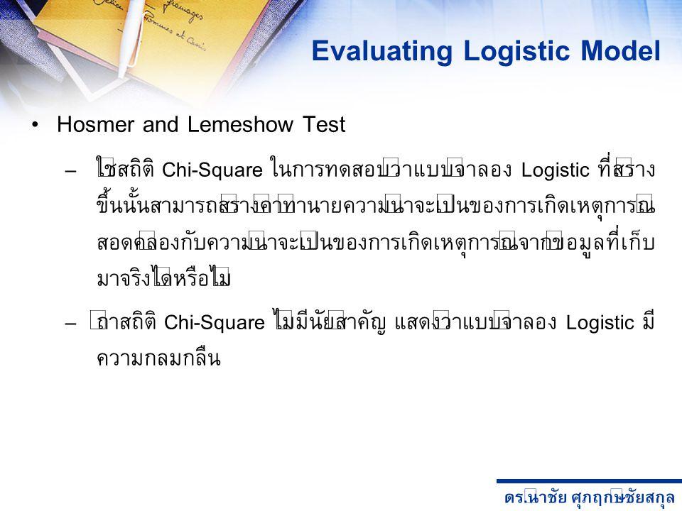 ดร. นำชัย ศุภฤกษ์ชัยสกุล Hosmer and Lemeshow Test – ใช้สถิติ Chi-Square ในการทดสอบว่าแบบจำลอง Logistic ที่สร้าง ขึ้นนั้นสามารถสร้างค่าทำนายความน่าจะเป