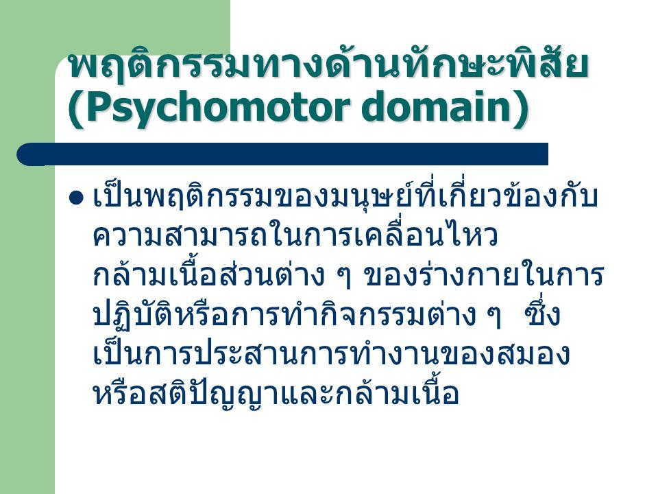 พฤติกรรมทางด้านทักษะพิสัย (Psychomotor domain) เป็นพฤติกรรมของมนุษย์ที่เกี่ยวข้องกับ ความสามารถในการเคลื่อนไหว กล้ามเนื้อส่วนต่าง ๆ ของร่างกายในการ ปฏ
