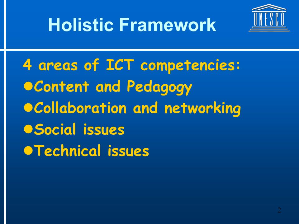3 New Visions I.ICT is a tool II.Changing roles of teachers III.Responsibility of the learner IV.Pedagogy is the key professional attribute V.ICT can improved learning VI.ICT offers learner centred learning VII.ICT integration is very essential