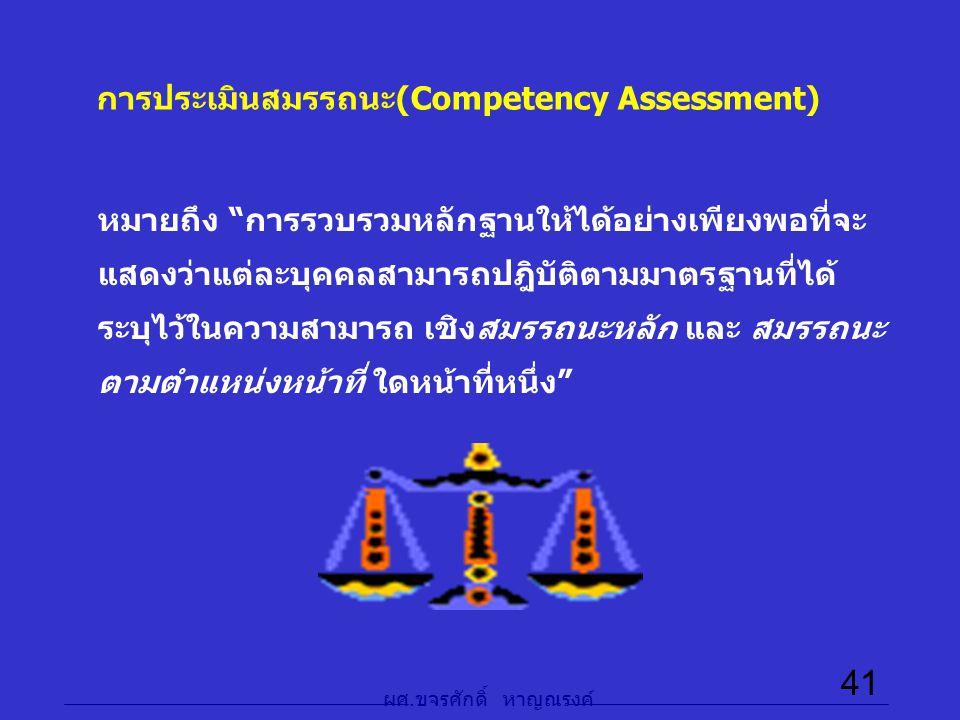 """ผศ. ขจรศักดิ์ หาญณรงค์ 41 การประเมินสมรรถนะ(Competency Assessment) หมายถึง """"การรวบรวมหลักฐานให้ได้อย่างเพียงพอที่จะ แสดงว่าแต่ละบุคคลสามารถปฎิบัติตามม"""