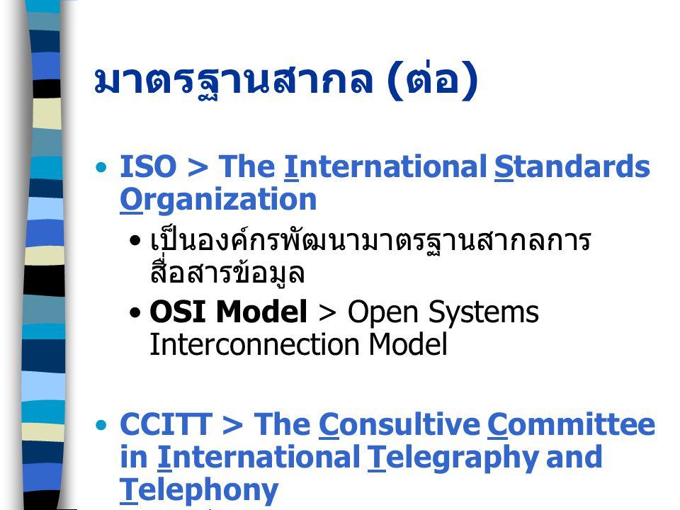 มาตรฐานสากล ( ต่อ ) ISO > The International Standards Organization เป็นองค์กรพัฒนามาตรฐานสากลการ สื่อสารข้อมูล OSI Model > Open Systems Interconnection Model CCITT > The Consultive Committee in International Telegraphy and Telephony การสื่อสารข้อมูลผ่านระบบโทรคมนาคม มาตรฐาน V ใช้สำหรับวงจรโทรศัพท์และโมเด็ม เช่น V.29, V.56, V.90 มาตรฐาน X ใช้กับเครือข่ายข้อมูลสาธารณะ เช่น X.25 Packet Switched