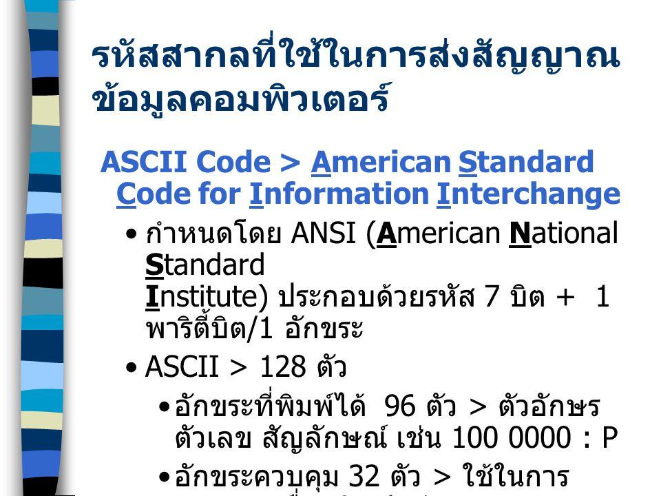 รหัสสากลที่ใช้ในการส่งสัญญาณ ข้อมูลคอมพิวเตอร์ ASCII Code > American Standard Code for Information Interchange กำหนดโดย ANSI (American National Standard Institute) ประกอบด้วยรหัส 7 บิต + 1 พาริตี้บิต /1 อักขระ ASCII > 128 ตัว อักขระที่พิมพ์ได้ 96 ตัว > ตัวอักษร ตัวเลข สัญลักษณ์ เช่น 100 0000 : P อักขระควบคุม 32 ตัว > ใช้ในการ ควบคุมเครื่องพิมพ์ เช่น DEL : 111 1111