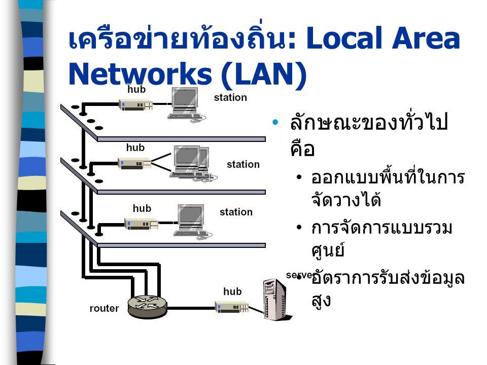 เครือข่ายท้องถิ่น : Local Area Networks (LAN) ลักษณะของทั่วไป คือ ออกแบบพื้นที่ในการ จัดวางได้ การจัดการแบบรวม ศูนย์ อัตราการรับส่งข้อมูล สูง