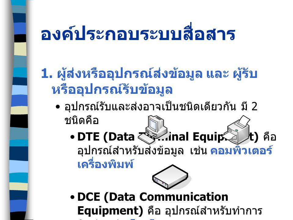 องค์ประกอบระบบสื่อสาร 1. ผู้ส่งหรืออุปกรณ์ส่งข้อมูล และ ผู้รับ หรืออุปกรณ์รับข้อมูล อุปกรณ์รับและส่งอาจเป็นชนิดเดียวกัน มี 2 ชนิดคือ DTE (Data Termina