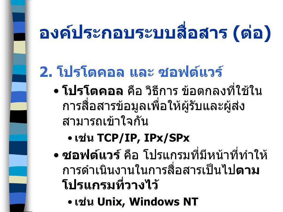 องค์ประกอบระบบสื่อสาร ( ต่อ ) 2.