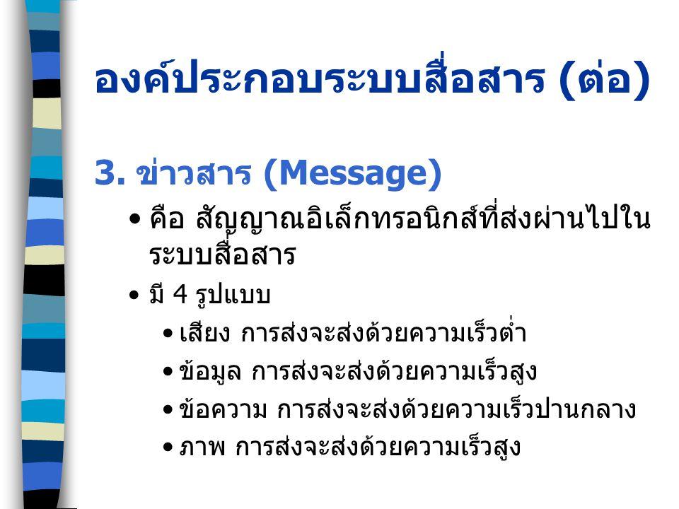องค์ประกอบระบบสื่อสาร ( ต่อ ) 3. ข่าวสาร (Message) คือ สัญญาณอิเล็กทรอนิกส์ที่ส่งผ่านไปใน ระบบสื่อสาร มี 4 รูปแบบ เสียง การส่งจะส่งด้วยความเร็วต่ำ ข้อ