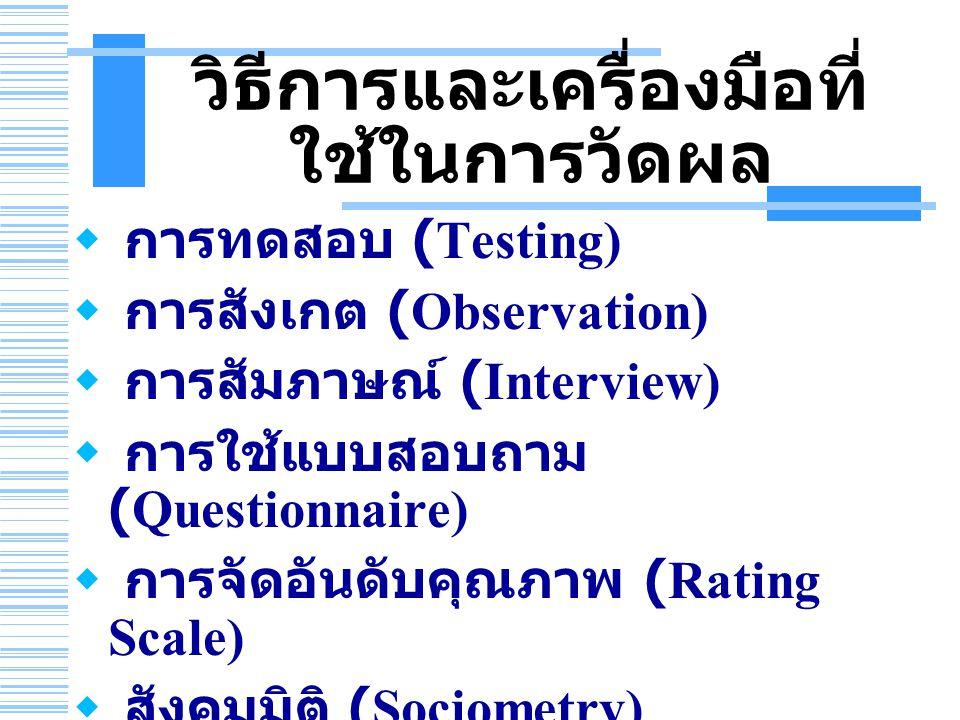 วิธีการและเครื่องมือที่ ใช้ในการวัดผล  การทดสอบ (Testing)  การสังเกต (Observation)  การสัมภาษณ์ (Interview)  การใช้แบบสอบถาม (Questionnaire)  การ