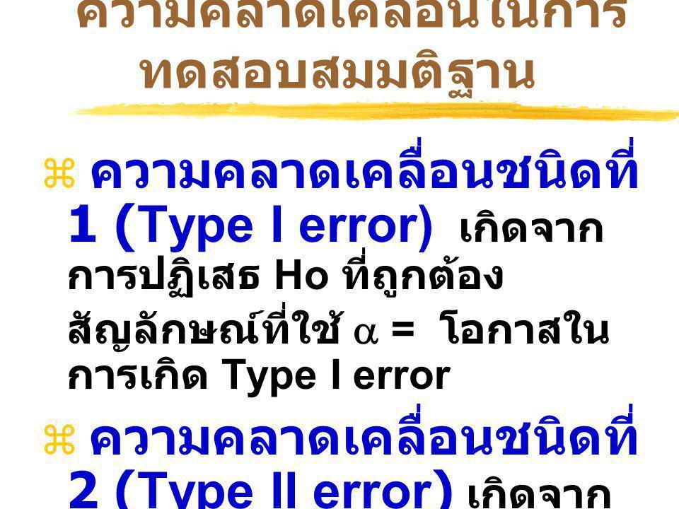 ความคลาดเคลื่อนในการ ทดสอบสมมติฐาน  ความคลาดเคลื่อนชนิดที่ 1 (Type I error) เกิดจาก การปฏิเสธ Ho ที่ถูกต้อง สัญลักษณ์ที่ใช้  = โอกาสใน การเกิด Type I error  ความคลาดเคลื่อนชนิดที่ 2 (Type II error) เกิดจาก การยอมรับ Ho ที่ผิด สัญลักษณ์ที่ใช้  = โอกาสใน การเกิด Type II error