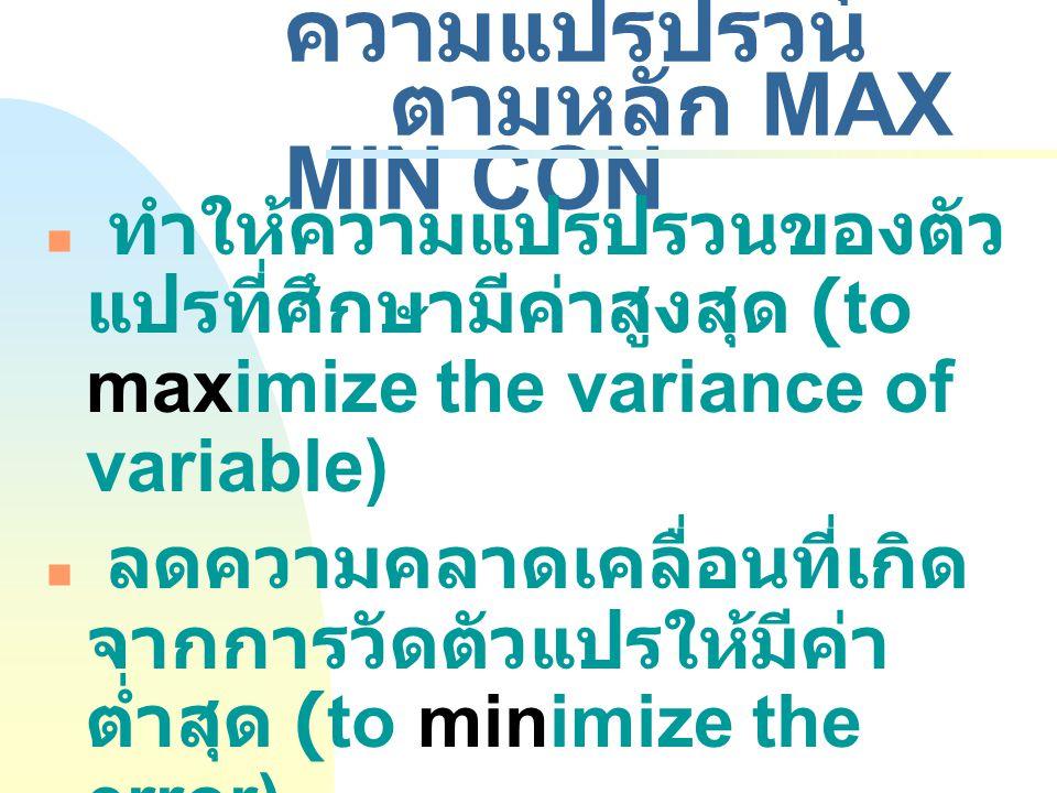 4.3 การควบคุม ความแปรปรวน ตามหลัก MAX MIN CON ทำให้ความแปรปรวนของตัว แปรที่ศึกษามีค่าสูงสุด (to maximize the variance of variable) ลดความคลาดเคลื่อนที่เกิด จากการวัดตัวแปรให้มีค่า ต่ำสุด (to minimize the error) ควบคุมความแปรปรวนที่เกิด จากตัวแปรแทรกซ้อน (to control the variance of extraneous/ unwanted variable)