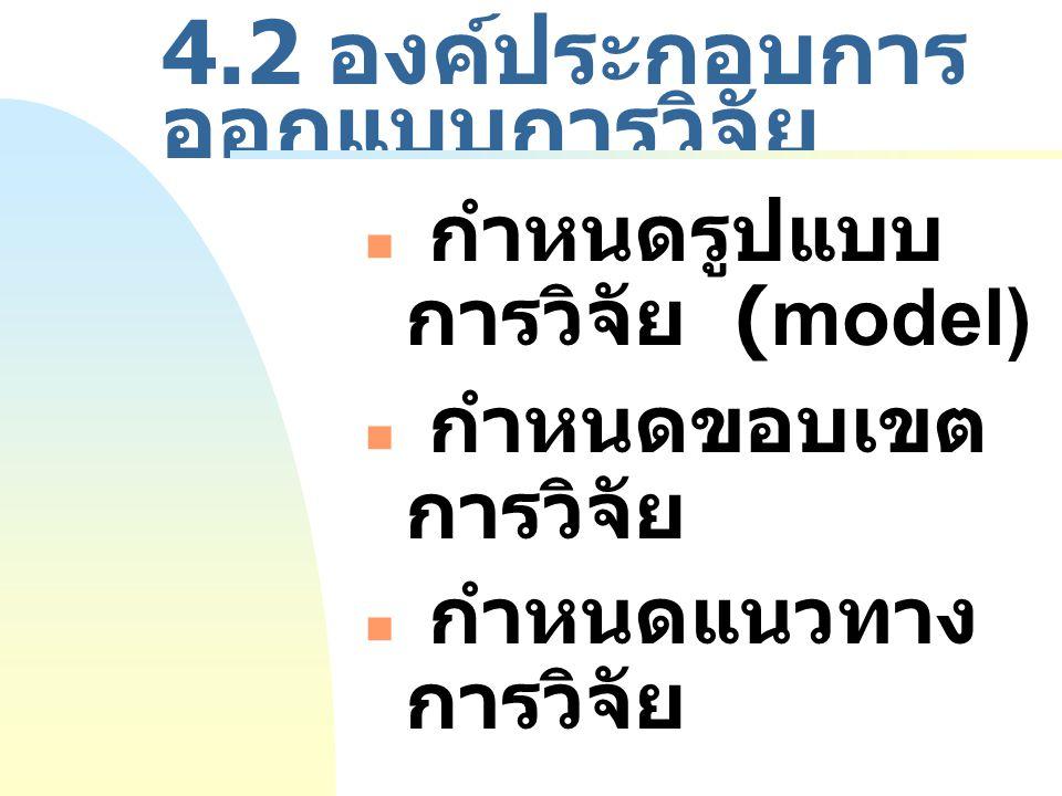 4.2 องค์ประกอบการ ออกแบบการวิจัย กำหนดรูปแบบ การวิจัย (model) กำหนดขอบเขต การวิจัย กำหนดแนวทาง การวิจัย