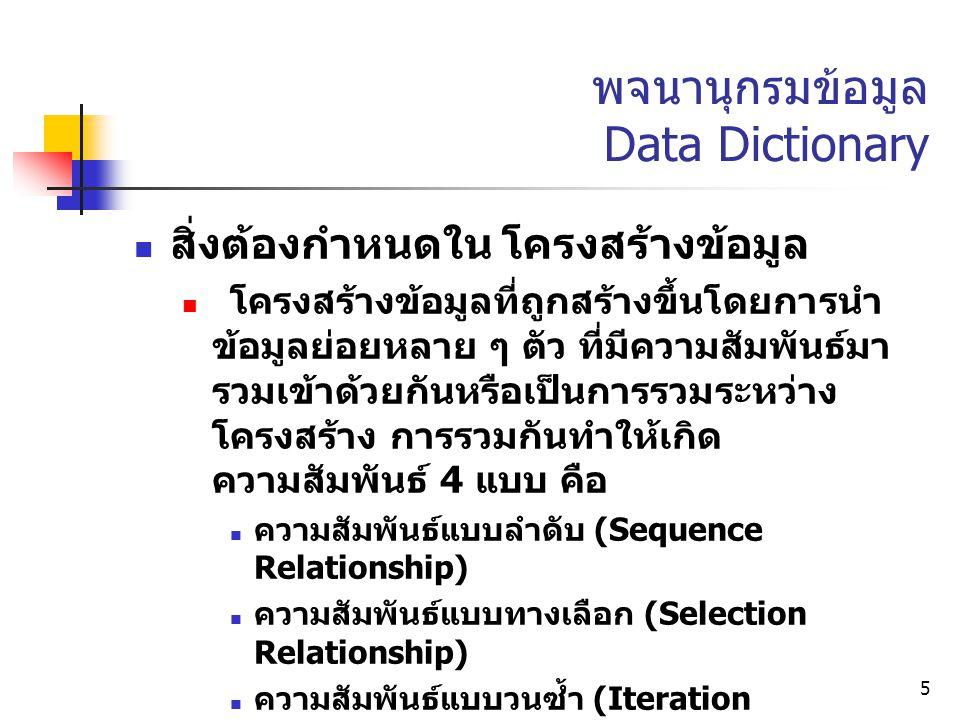 5 พจนานุกรมข้อมูล Data Dictionary สิ่งต้องกำหนดใน โครงสร้างข้อมูล โครงสร้างข้อมูลที่ถูกสร้างขึ้นโดยการนำ ข้อมูลย่อยหลาย ๆ ตัว ที่มีความสัมพันธ์มา รวมเ