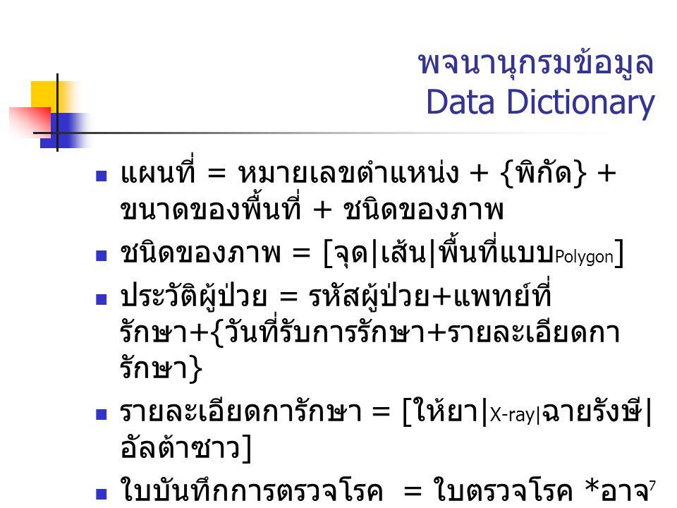 7 พจนานุกรมข้อมูล Data Dictionary แผนที่ = หมายเลขตำแหน่ง + { พิกัด } + ขนาดของพื้นที่ + ชนิดของภาพ ชนิดของภาพ = [ จุด | เส้น | พื้นที่แบบ Polygon ] ป