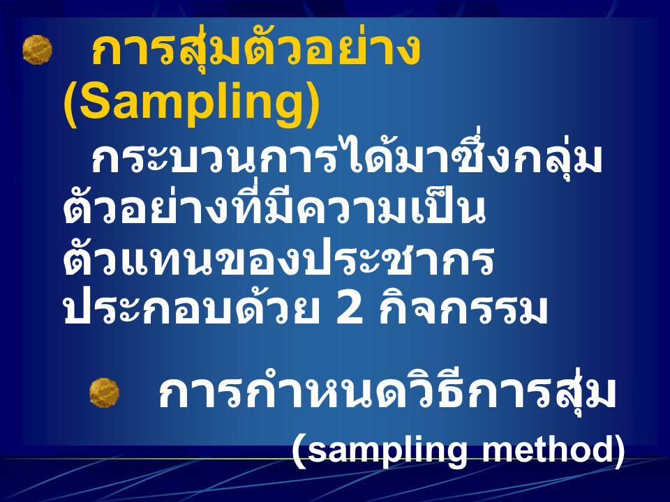 การสุ่มตัวอย่าง (Sampling) กระบวนการได้มาซึ่งกลุ่ม ตัวอย่างที่มีความเป็น ตัวแทนของประชากร ประกอบด้วย 2 กิจกรรม การกำหนดวิธีการสุ่ม (sampling method) ก