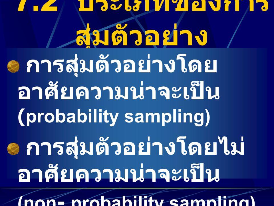 7.2 ประเภทของการ สุ่มตัวอย่าง การสุ่มตัวอย่างโดย อาศัยความน่าจะเป็น (probability sampling) การสุ่มตัวอย่างโดยไม่ อาศัยความน่าจะเป็น (non - probability