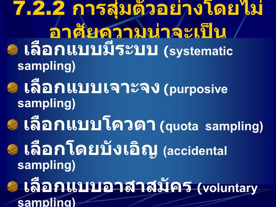 7.2.2 การสุ่มตัวอย่างโดยไม่ อาศัยความน่าจะเป็น เลือกแบบมีระบบ (systematic sampling) เลือกแบบเจาะจง (purposive sampling) เลือกแบบโควตา (quota sampling)
