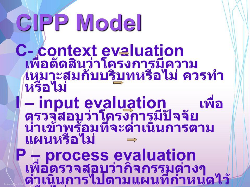 CIPP Model C- context evaluation เพื่อตัดสินว่าโครงการมีความ เหมาะสมกับบริบทหรือไม่ ควรทำ หรือไม่ I – input evaluation เพื่อ ตรวจสอบว่าโครงการมีปัจจัย