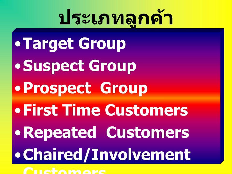 ประเภทลูกค้า Target Group Suspect Group Prospect Group First Time Customers Repeated Customers Chaired/Involvement Customers