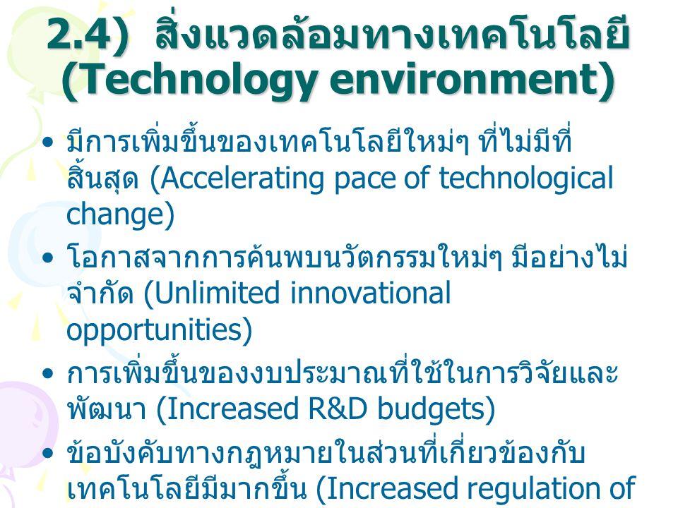 2.4) สิ่งแวดล้อมทางเทคโนโลยี (Technology environment) มีการเพิ่มขึ้นของเทคโนโลยีใหม่ๆ ที่ไม่มีที่ สิ้นสุด (Accelerating pace of technological change)